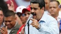Venezuela's President Nicolas Maduro speaks during a rally with pro-government members of the public transport sector in Caracas, Venezuela 31 May 2016.