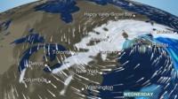 BBC Weather map showing heavy snow across NE USA