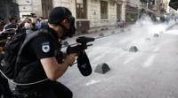 A Turkish riot policeman in Istanbul, 19 June