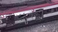 (File photo 2004) Wreckage of a train after a bomb exploded at a Madrid railway station