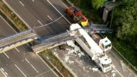 Aerial footage of the bridge collapse