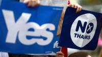 """Yes and No signs from Scotland""""s independence referendum in 2014"""
