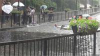 Man gets out of car after it submerges in flood water