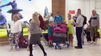 Tourists arrive in Glasgow airport