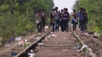 Migrants walking along train tracks in Hungary