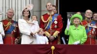 Camilla Duchess of Cornwall, Prince Charles, Catherine, Duchess of Cambridge holding Princess Charlotte, Prince George, Prince William, Queen Elizabeth, and Prince Philip on royal balcony