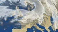 BBC Weather satellite picture showing the curl of cloud associated with Storm Doris