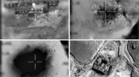 Handout images provided by the Israeli army reportedly show an aerial view of a suspected Syrian nuclear reactor during bombardment in 2007