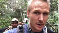 Christian Parkinson on trek through the rainforest