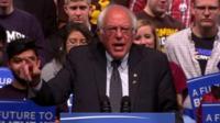 Bernie Sanders speaking after his victory in Wisconsin