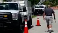 Gunman shooting lorry