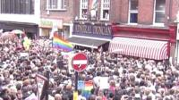 Crowds on Old Compton Street