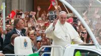 Pope Francis on his way to the royal Wawel Castle in Krakow, Poland, Wednesday, 27 July 2016.