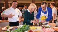 Jamie Oliver, the Duchess of Cornwall and Peter Harding