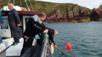 Divers surfaces with marine litter