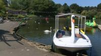Swan boat on lake
