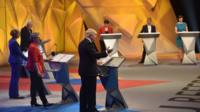 The stage at the BBC Great Debate