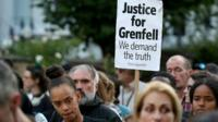 Grenfell campaigners with poster