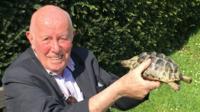 Richard Wilson with tortoise