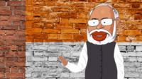 Cartoon Narendra Modi on Indian flag