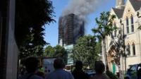Smoke rising over tower block