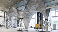 The curved concrete ceiling