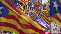Flags at pro-independence demonstration in Barcelona on 15 April 2018.