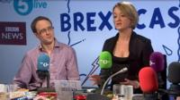 Laura Kuenssberg and Chris Mason appearing on Brexitcast Live