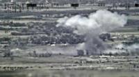 Falluja Islamic State target bombed from the air