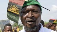 A pro-Biafra supporter takes part in a protest in Aba, southeastern Nigeria, to call for the release of a key activist on November 18, 2015.