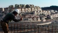 Construction worker at Israeli settlement of Efrat (Feb 2016)