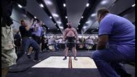 Eddie Hall preparing to lift weight in front of crowd