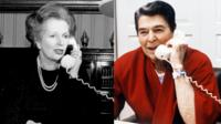 Separate images of UK prime minister Margaret Thatcher and US president Ronald Reagan both on the telephone
