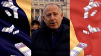 Graphic of Romanian flag, 50 Euro notes, and Steve Rosenberg