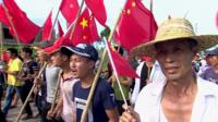 Protestors in Wukan, in China's Guangdong province