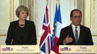 UK PM Theresa May and French president Francois Hollande