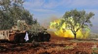Tank of Turkish-backed rebels fires towards Kurdish fighters in Afrin (19/02/18