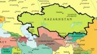Kazakhstan shown on a map