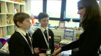 The Duchess of Cambridge meets School Reporters Adam and Mitchell