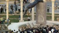 Saddam Hussein's statue toppled