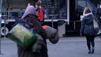 A homeless woman in Helsinki, Finland