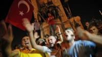 Erdogan supporters gathered on Istanbul's Taksim Square for a protest rally