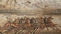Roman mosaic showing chariot race, found at Akaki, Cyprus