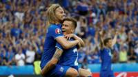Iceland's footballers celebrate a goal