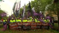 Steel workers demonstrating in london