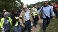 Jeremy Corbyn surrounded by media
