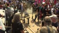 Police and protesters clash in Virginia
