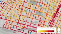 A pollution map of Oakland, California collected by Google Street View cars
