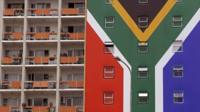 south african flag painted on appartment block