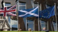 UK, Saltire and EU flags